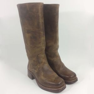 Frye 77050 Campus Brown Motorcycle Boot Size 6
